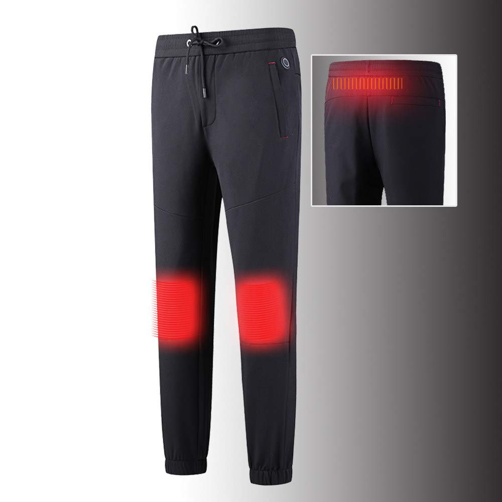 roroz Insulated Heated Trousers, USB Heated Cotton Pants, Men's Electric Heating Clothes Elastic Waist, Warm Knee Pads, Waist Abdomen Heating, Washable, Fast Heat, Relieve Leg Pain,Black-XXXXXL