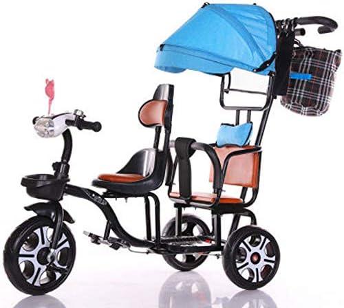 JHGK Triciclo De Dos Plazas, Bicicleta De Triciclo De Empuje con Dos Manos De Acero con Alto Contenido De Carbono De Dos Plazas con Dosel Azul/Valla Simple/Luz,Tricycle para Niños,Negro: Amazon.es: Hogar