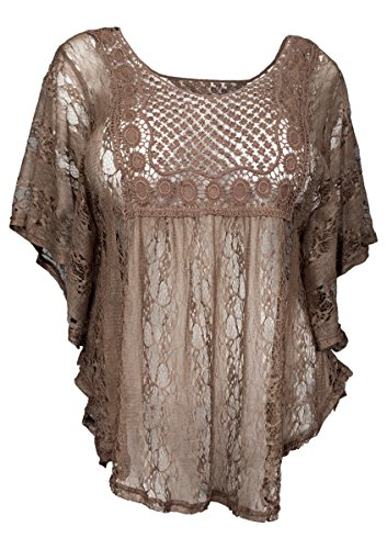 eVogues Plus Size Sheer Crochet Lace Poncho Top Chocolate Brown - (Brown Crochet)