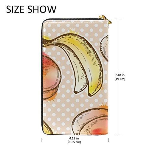 And Womens Dots Handbags And Clutch Peach Zip Wallet Purses Banana Around Organizer TIZORAX Polka Uq6WawWt