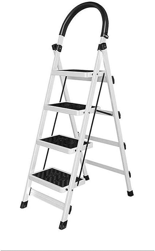 Multifunción exterior plegable escalera, hierro de metal, escalera en cuatro etapas, jardín, poda y escalera de escalera, antideslizante, diseño de pedal estable, color blanco 43*76*145cm: Amazon.es: Oficina y papelería