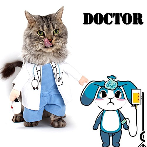 Dog Halloween Costume Dog Carrying Costume Cat Doctor Costume Pet Doctor Uniform Funny by DELIFUR (Pet Doctor Costume)