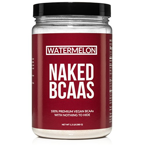 Naked Watermelon BCAAs 50 Servings - Vegan Branched Chain Amino Acids Powder 500 Grams | 100% Pure 2:1:1 Formula - Instantized All Natural BCAA Watermelon Powder Supplement to Increase Muscle Mass