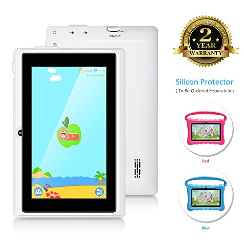 7 Inch Kids Tablet PC Android Quad Core 1024×600 IPS Eye Protection Display 1+8GB Storage Learning Tablet with WiFi Bluetooth Dual Camera Parental Control by TOPELOTEK