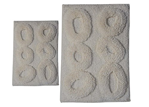 Castle Hill London 2-Piece Pebble Bath Rug Sets, 17 by 24-Inch/20 by 30-Inch, (Castle Hill Collection)