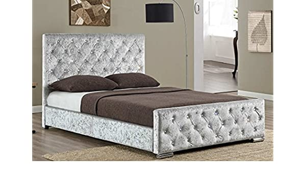 Sleep Design Beaumont Luxury tapizado Diamante Gris Tejido o Cama Marco, de Terciopelo Negro/Oro/Plata Doble o King Size, Tela, Plateado, ...