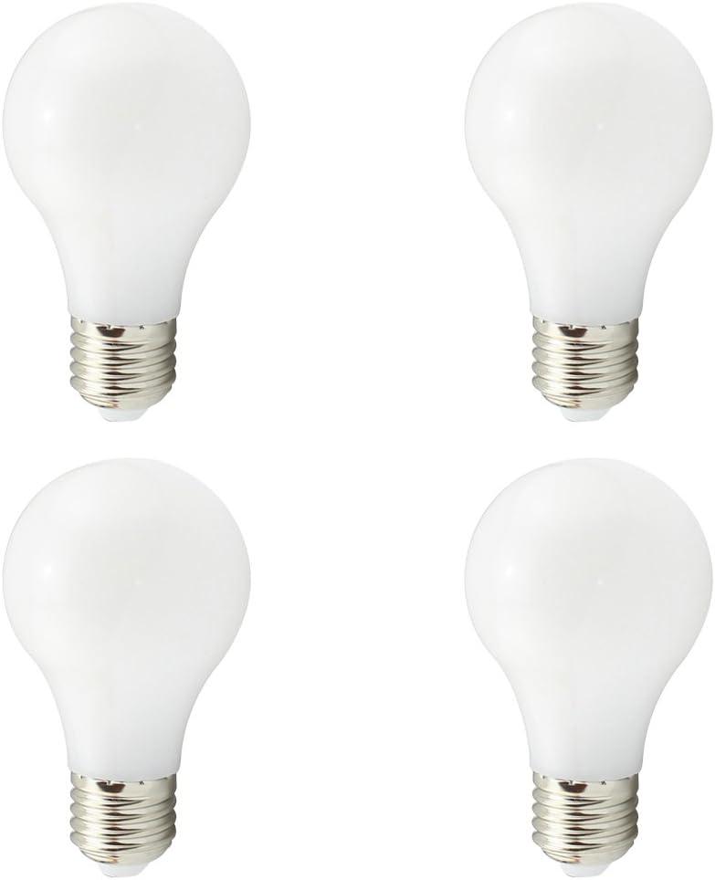Bombillas A19 E27 LED, CA segura de bajo voltaje CA 12V 24V 4W, A60 40W Equivalente ligera tradicional, 450Lumen 360 grados, 6000K blanco para RV Camper Marine, Weixuan, paquete de 4