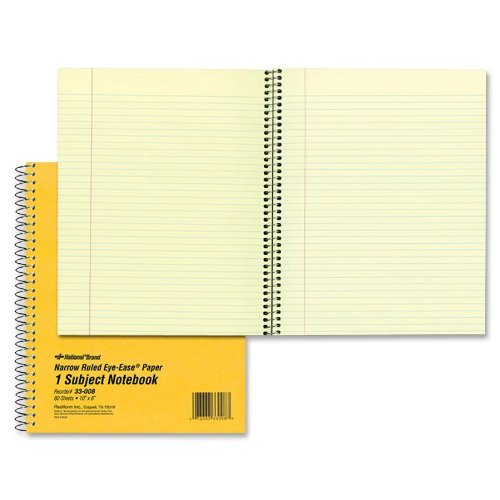 - NATIONAL Brown Board Cover Notebook, Narrow ruling, 1-Subject, Green Paper, 10 x 8 Inches, 80 Sheets (33008)