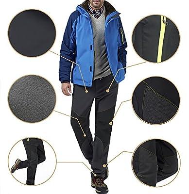 ChezMax Outdoor Fleece Lined Soft Shell Snow Pants- Water-Resistant, Windproof