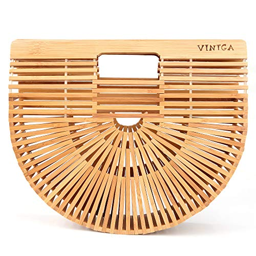 Vintga Bamboo Bags for Women Summer Straw Bags Wooden Beach Purses Basket Handle Handbags