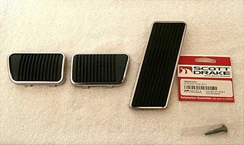 1965-68 Ford Mustang Brake, Clutch Pad, Accelerator Pedal Pad Kit W SS Trim Ring Ped#7 (Ford Pedal Kit Mustang)