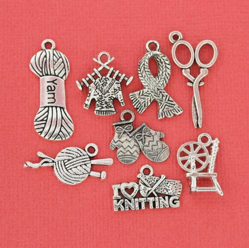 Jewelry Making Knitting Charm Collection Antique Silver Tone 8 Different Charms - COL038 Perfect for Pendants, Earrings, Zipper pulls, Bookmarks and Key Chains