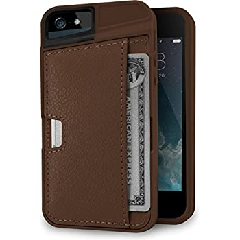 Silk iPhone SE/5s/5 Wallet Case - Q Card Case for iPhone 5 / 5s / SE [Protective CM4 Slim Cover] - Mahogany Brown