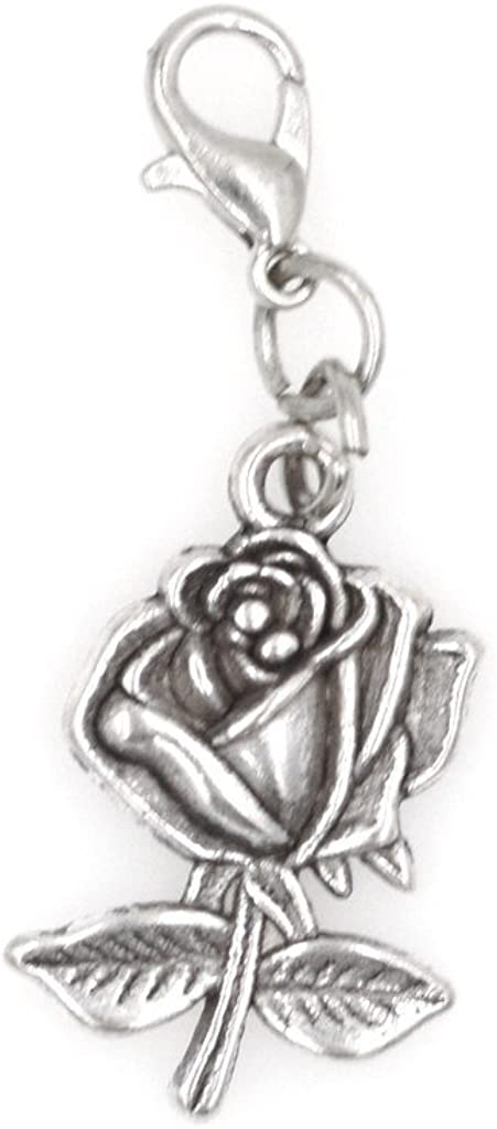 Its All About...You Rose Stainless Steel Clasp Clip on Charm 79Af