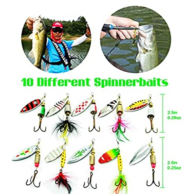 Tbuymax 10pcs fishing lure spinners Bass trout hard Crankbaitkit with 2 Tackle boxes