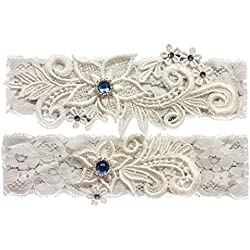 Bueer Wedding Bridal Lace Garter Set Keepsake Toss Tradition Vintage, 2pc (01-ivory)