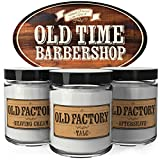 Scented Candles for Men - Old Time Barber Shop - Set of 3: Shaving Cream, Talc, Aftershave - 3 x 4-Ounce Soy Candles - Each Votive Man Candle is Handmade in The USA - Perfect Mens Gift