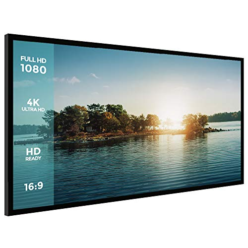 (Projector Screen, Houzetek Ambient Light-Rejecting Screen 100 Inch Indoor Outdoor Projection Movie Screen Diagonal 16:9 Aspect Ratio, 4K Ultra HD for HDTV Home Cinema Theater,1.1 Gain with Fixed Frame)