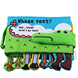 Qiyun Cloth Book Baby Crocodile Cloth Books Squeak Crinkle Feet Book Puzzle Toys as Gifts for Boy & Girl