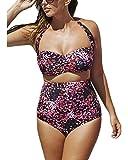 Lalagen Women's High Waist Halter Bandeau 2 Piece Plus Size Bikini Swimsuit XXXL purple