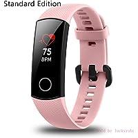 Huawei Honor Band 4 Monitor de frecuencia cardíaca inercial de 6 ejes, sensor de detección de desgaste de luz infrarroja, visualización a todo color AMOLED, botón de inicio, rastreador de actividad todo en uno, 5 ATM, impermeable (rosa coral)