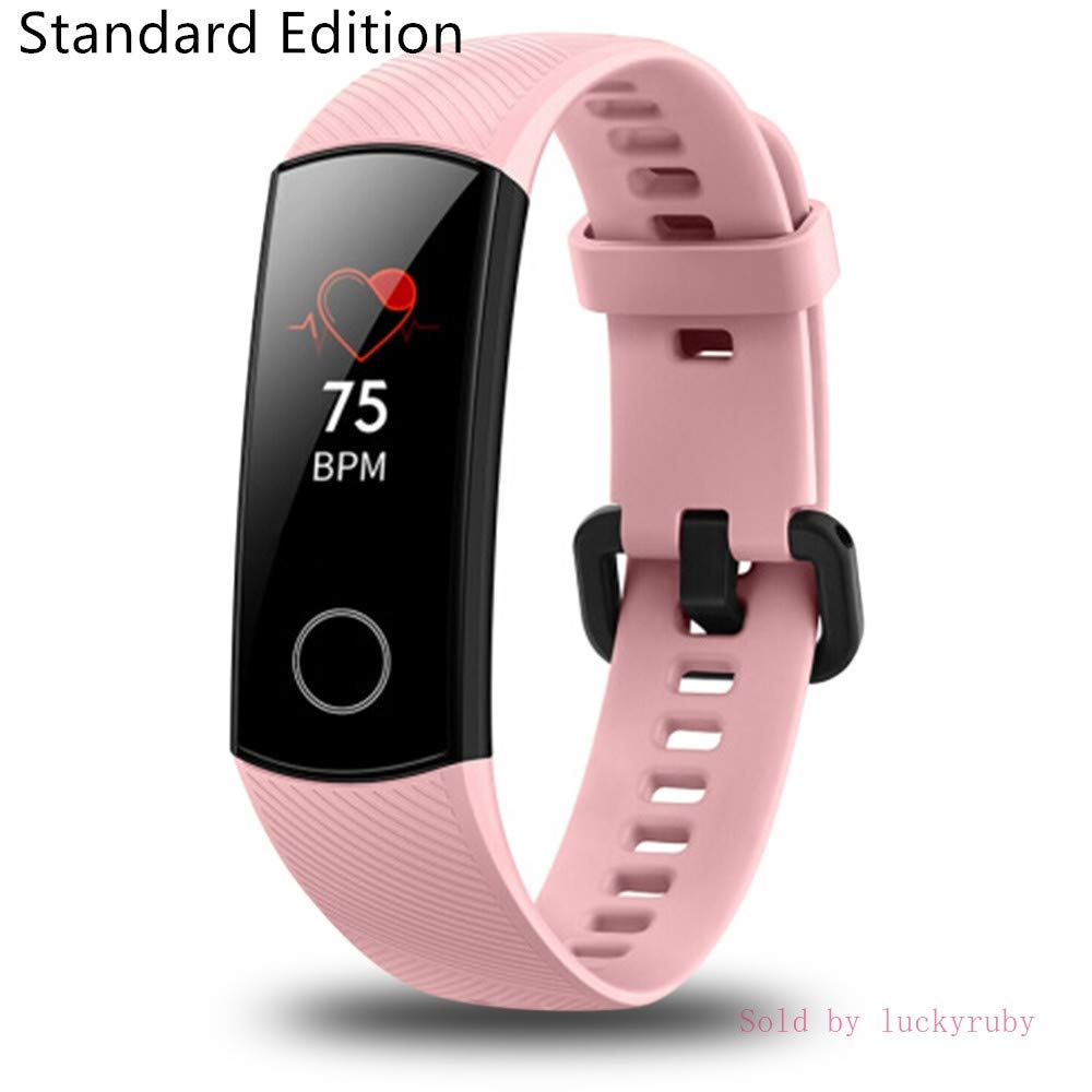 Huawei Honor Band 4 6-Axis Inertial Heart Rate Monitor Infrared Light Wear Detection Sensor Full Touch AMOLED Color Screen Home Button All-in-One Activity Tracker 5ATM Waterproof Coral pink
