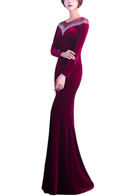 KAXIDY Womens Dresses Long Casual Long Prom Gowns Velvet Long Evening Dress Maxi Dresses Party Cocktail Dress: Amazon.co.uk: Clothing