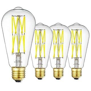 LEOOLS 12W Edison Style Vintage LED Filament Light Bulb, Dimmable led Retro Bulb,100 Watt Equivalent Light Bulbs,Daylight White 5000K,1200LM, E26 Medium Base Lamp, Antique Shape, 4 Pack