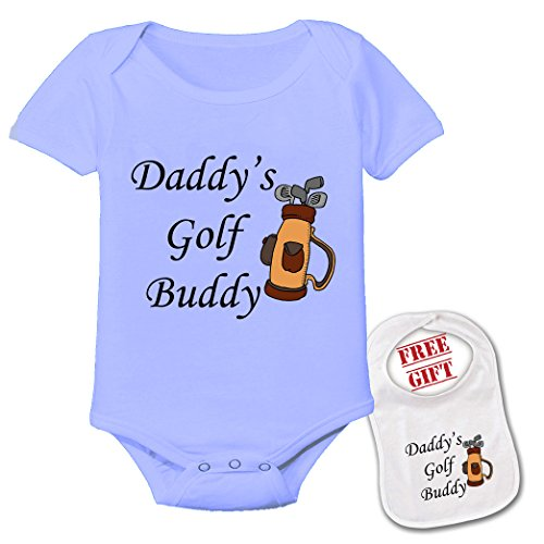 Apparel USA Daddy's Golf Buddy, Cute Theme Baby Bodysuit Onesie & Matching bib