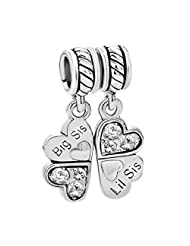 Sterling Silver Big /Little Sister Lil Sis Love Heart Clover Dangle Bead For European Chamilia Biagi Troll Pandora Charm Bracelets