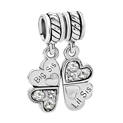 Sterling Silver Rhinestone 'Big Sis Little Sis Love' Heart European Bead Charm (Pandora Sister Charm)
