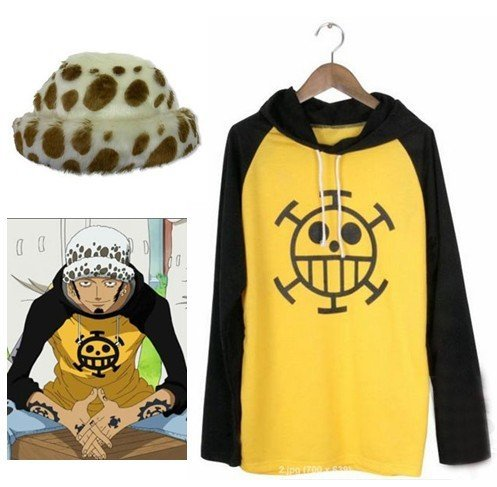 One Piece Trafalgar Law Cosplay Costume and Hat ,Size L