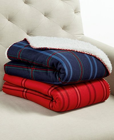 Martha Stewart Classic Sherpa Throw (Red Plaid)