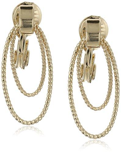 NapierSparkling Links Gold-Tone Textured Double Drop Doorknocker Clip-On Earrings