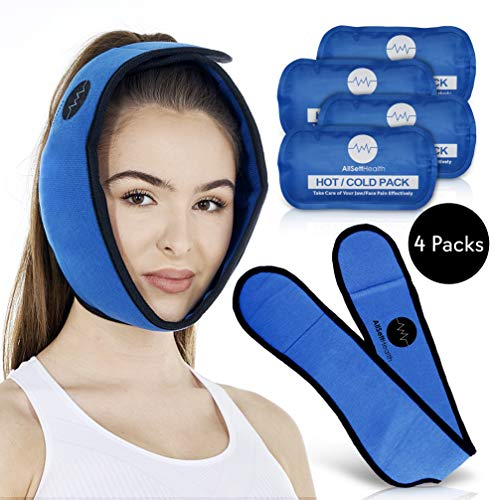 - Face Ice Pack for Jaw, Head and Chin, Four Reusable Hot or Cold Gel Packs, Relief for Mouth, or Oral Pain, Facial Surgery, Wisdom Teeth, TMJ Pain Relief