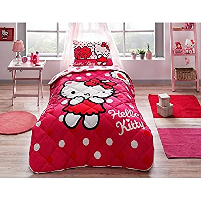 paradise RANFORCE 100% Cotton Kids Bedding, Hello Kitty Themed Comforter Set with Flat Sheet, Girls Bedroom Set, Twin XL/Twin Size: Home & Kitchen
