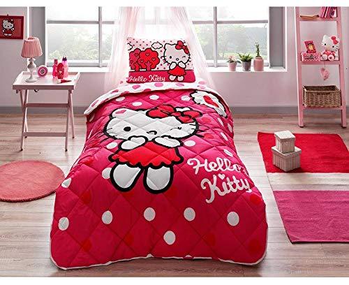 paradise RANFORCE 100% Cotton Kids Bedding, Hello Kitty Themed Comforter Set with Flat Sheet, Girls Bedroom Set, Twin XL/Twin Size (Hello Kitty Set Twin Bedroom)