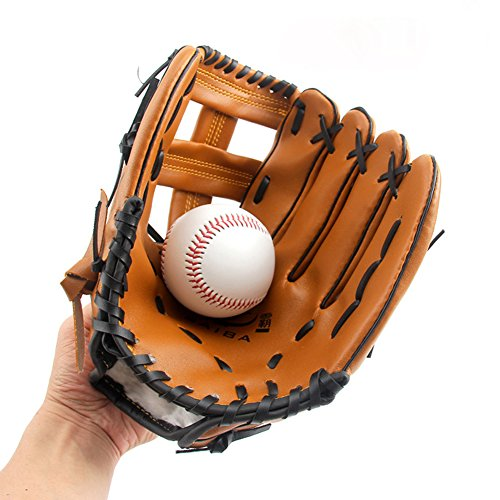 QEES Youth Baseball Gloves Soft Solid PU Leather Thickening Pitcher Softball Gloves Child/Teens/Adult Style Professional Mitt for Catching Best Gifts for Father/Boyfriend/Son BQST01 (Adult)