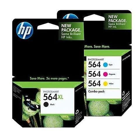 HP 564XL (CN684WN#140) Black + HP 564 (CD994FN#140) Cyan/Magenta/Yellow Color Combo Pack OEM Genuine Inkjet/Ink - Genuine Oem Fax