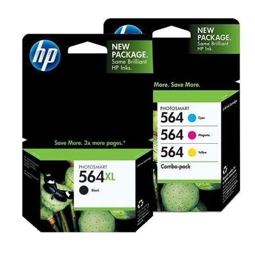 HP 564XL (CN684WN#140) Black + HP 564 (CD994FN#140) Cyan/Magenta/Yellow Color Combo Pack OEM Genuine Inkjet/Ink Cartridge