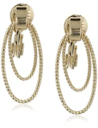 "Napier""Sparkling Links"" Gold-Tone Textured Double Drop Doorknocker Clip-On Earrings"