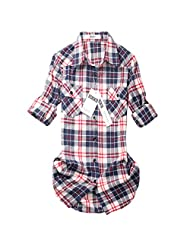 Women's Mid Long Style Roll Up Sleeve Plaid Flannel Shirt