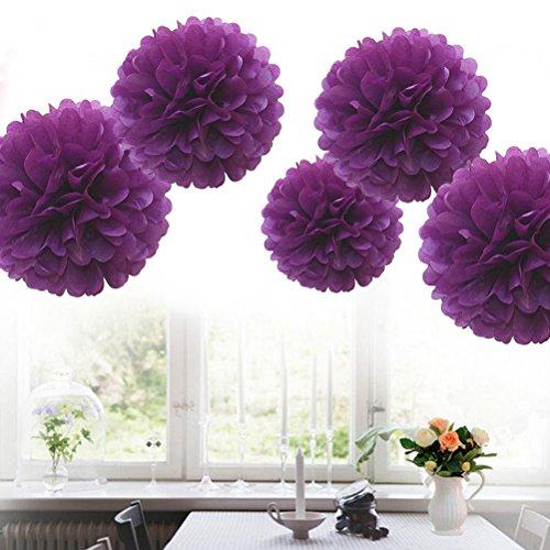LIGONG 5 Pieces Tissue Paper Pom Flower Ball DIY Wedding Reception Ceremony Birthday Party Outdoor (Diy Wedding Reception Decorations)