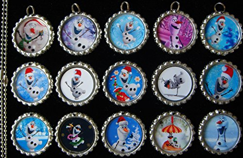 15 Christmas Olaf Silver Bottle Cap Pendant Necklaces Set 1 (Cap Bottle Set Pendants)