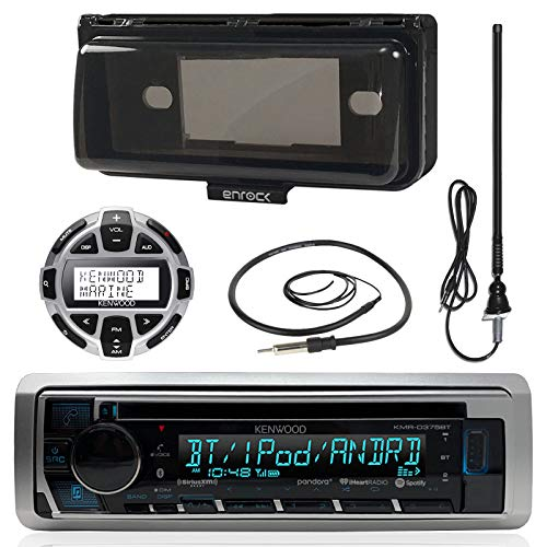 Kenwood MP3/USB/AUX Marine Boat Stereo Receiver CD Player Bundle Combo W/ Protective Cover, Wired Remote Control, Enrock Water Resistant 22