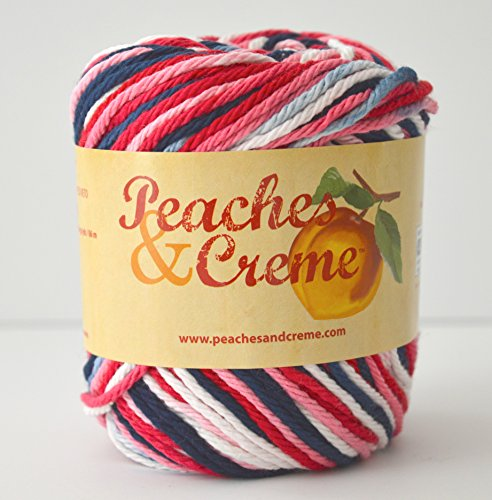 Creme Ombre Yarn (Peaches & Creme (Cream) Cotton Yarn Nautical Ombre 2 oz. (Blue, Red, Pink, White Variegated))