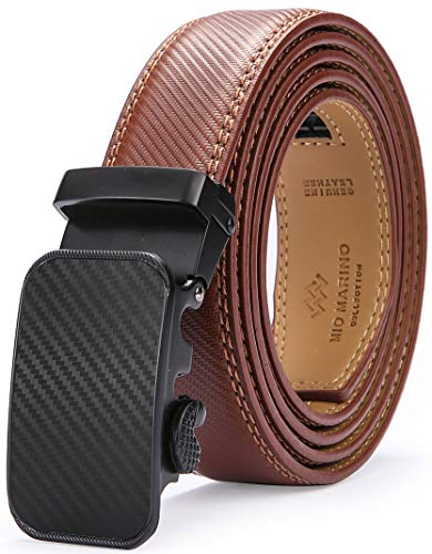 Marino Men's Genuine Leather Ratchet Dress Belt With Automatic Buckle, Enclosed in an Elegant Gift Box - Burnt Umber Ratchet Belt - Adjustable from 28