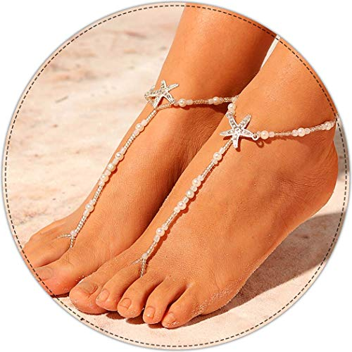 Aukmla Bermuda Beach Wedding Barefoot Sandals Bridal Foot Jewelry Starfish Barefoot Sandles Beach Shoes Footless Sandals Bridesmaid Gift for Women and Girls