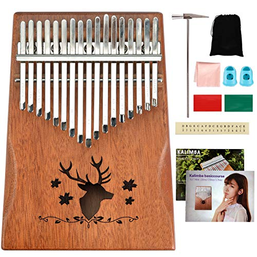 Kalimba Thumb Piano 17 Keys with Study Instruction and Tune Hammer Portable Finger Piano Gift for Kids Adult Beginners Music Instrument Lover