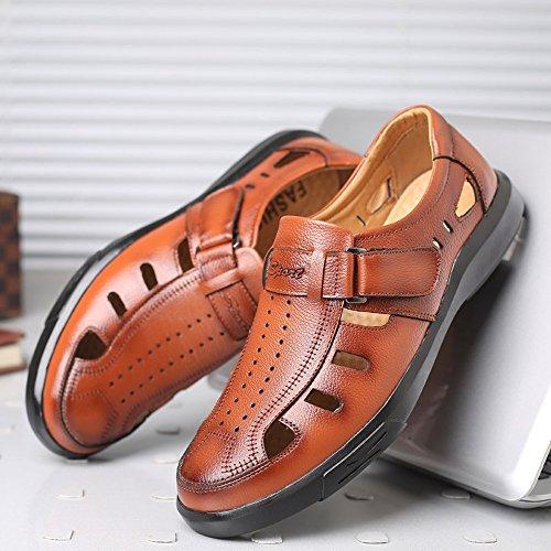 Ruanyi Véritable Cuir Mocassins Hommes, Classique Doux Véritable Chaussures en Cuir Slip-sur Creux Respirant Perforation Doux Plat Semelle Mocassin Chaussures pour Hommes Marron